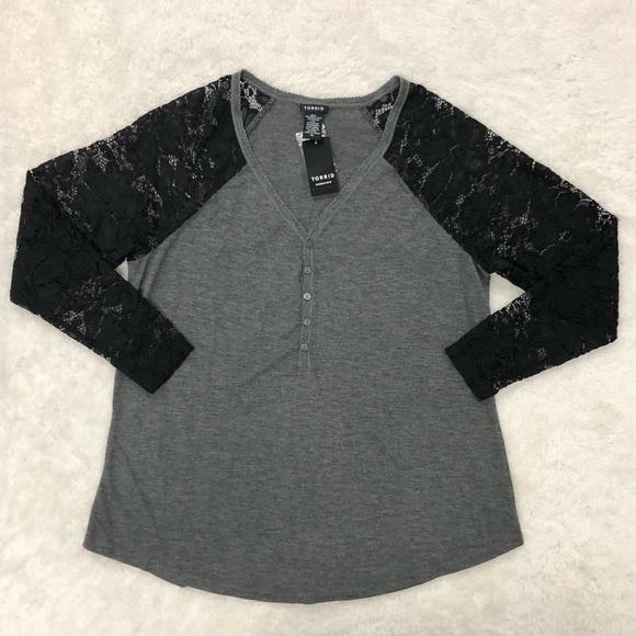 Torrid Lace Sleeve Henley Shirt